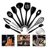 IdealHouse Set de espátulas de Silicona Utensilios de Cocina espátula Resistente al Calor (10 Juegos Negros)