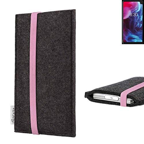 flat.design vegane Handy Tasche Coimbra kompatibel mit Archos Oxygen 63XL - Schutz Hülle Tasche Filz vegan fair rosa