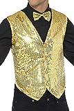 Smiffys Herren Pailletten Weste, Größe: XL, Gold, 42937