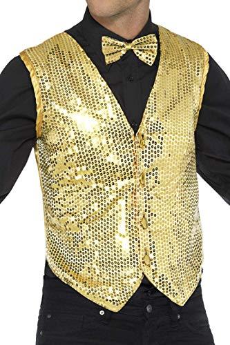 Smiffys 42937M Herren Pailletten Weste, Größe: M, Gold, 42937