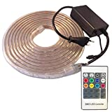 Ahorraluz Tira de Led 220v 5050 RGB con Mando IMPERMEABLE Waterproof IP67 Strip 230V (1 Metro), 1M