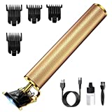 Electric Pro Li Trimmer, PaiTree Zero Gapped T-Blade Professional Hair Clippers for Men, USB Rechargeable Cordless Beard Shaver, Barber Salon Waterproof Grooming Kit - Gold