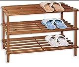 TIENDA EURASIA® Zapatero de Madera Natural. Estantería Disponible en 3 tamaños. Diseño Sencillo y Compacto. Ideal para Cualquier rincón de tu hogar. (Miel, 3 Alturas)