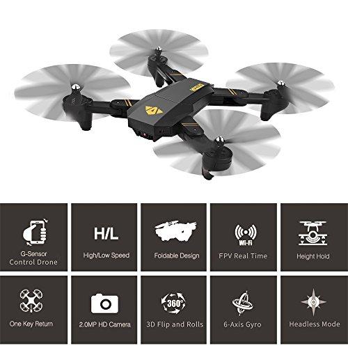 RC Quadcopter, Togather XS809W RC pieghevole Drone 2.4G 6 assi Gyro WIFI FPV Quadcopter con grandangolare 720P 2MP Telecamera regolabile Volo Traiettoria Altitudine Tenere