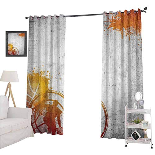 "Sports Decor curtains for living room Basketball Streetball and Paint Stains Image on Concrete Wall Rustic Decoration Suitable forThe best choice for bedroom and living room W84"" x L84"" Charcoal Oran"