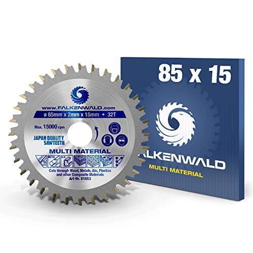 FALKENWALD - Hoja de Sierra Circular 85 x 15 mm - Ideal para Madera - Metal y Aluminio - Disco de Corte compatible con Sierra Tronzadora y Sierra Circular de Bosch & Makita