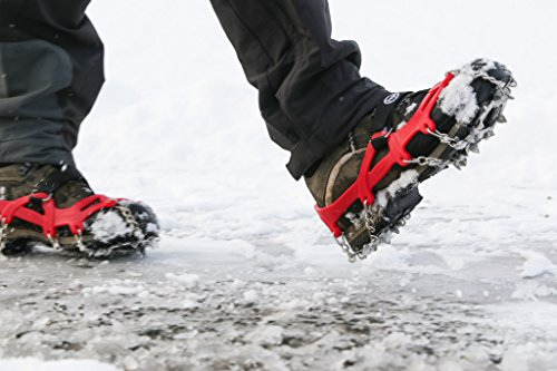 SportsCentre Ice spikes with bag - Large Grey UK10.5-13.5 - mini lightweight ice grips for snow and ice