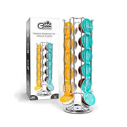 Green BEANS Portacapsule per 24 capsule Dolce Gusto – Porta capsule da caffè cromato – girevole a 360°