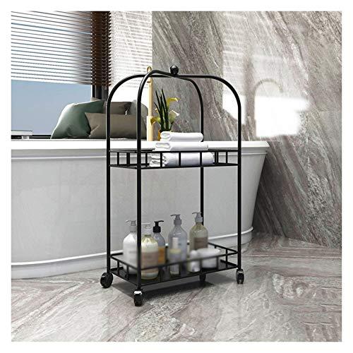 Bathroom Shelf Trolley Cart Beauty Salon Storage Rack On Wheels Toiletries Organization,3 Colors (Color : Black, Size…