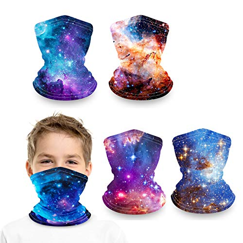 Kids Face Maks Neck Gaiter Reusable Washable Girls Boys Face Cover Neck Gator (Galaxy face masks-Thick)