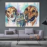 Quadro su tela Acquarello Animali Poster e stampe Cani Gatto Immagine a parete Soggiorno Decorazione domestica Senza cornice