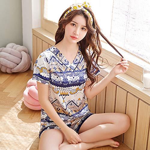 XUHRA Zomer-Pyjama voor dames 2019 pyjama zomer druk V-hals schattige nachtset meisjes nachthemd korte broek pyjama-set van zijde