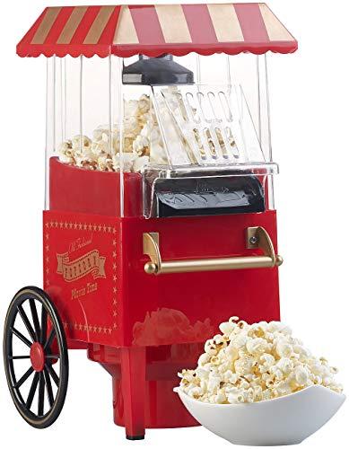 Rosenstein & Söhne Popkornmaker: Retro-Heißluft-Popcorn-Maschine, Miniatur-Rollwagen-Optik, 1.200 Watt (Popcorn-Automaten)