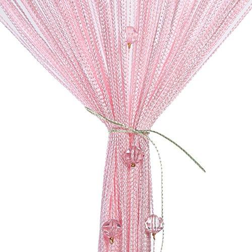 Fadenvorhang, Fadenvorhang perlenvorhang, 100 x 200 cm Wandvorhang Schaufensterdekoration Mehrfarbig (Rosa,Rot,Grüner,Champagner) für hochzeit balkontür (Rosa)