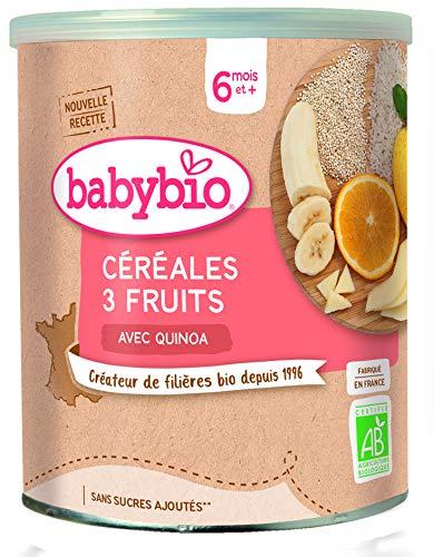 PAP CÉRÉALES 3 fruits 6M BIO 220 GR