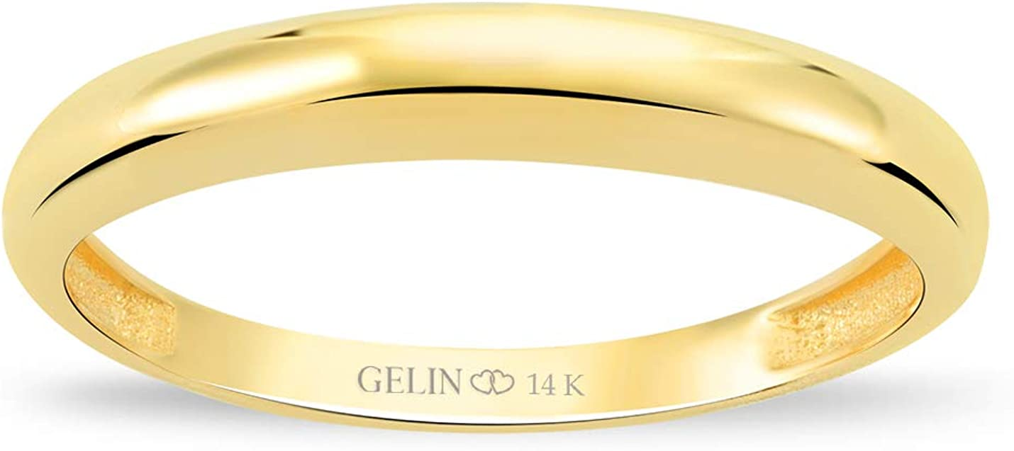 GELIN Classic Plain Wedding Band Ring in 14k Solid Gold | Stackable Ring for Women | Promise Accent Bridal Engagement - Size 7