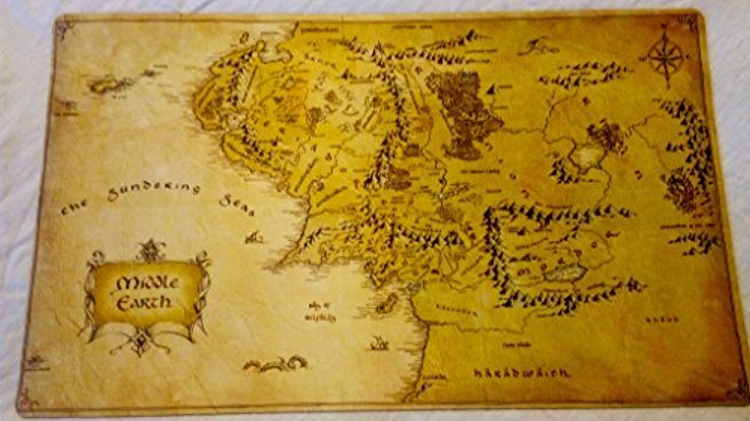 Lord of the Rings Middle Earth Map TCG playmat, gamemat 24 wide 14 tall for trading card game smooth cloth surface rubber base by Masters of trade