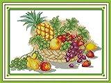 Kit de punto de cruz para adultos-DIY Cross Stitch estampado costura patrón de bordado Imágenes regalo-11CT Lienzo preimpreso- Cesta de frutas (5)