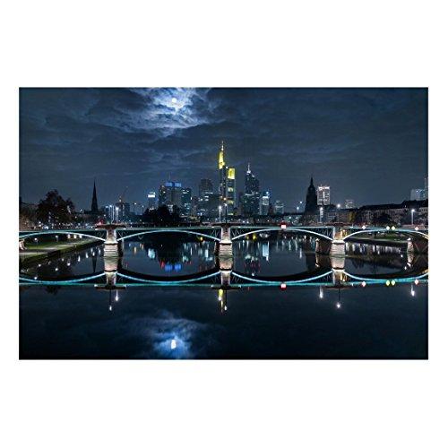 Bilderwelten Pizarra magnética - Frankfurt at Full Moon - Formato apaisado 2:3 magnéticas decoracion murales mensajes impreso metálica pizarra imantada pizarra para cocina oficina, Tamaño: 40cm x 60cm