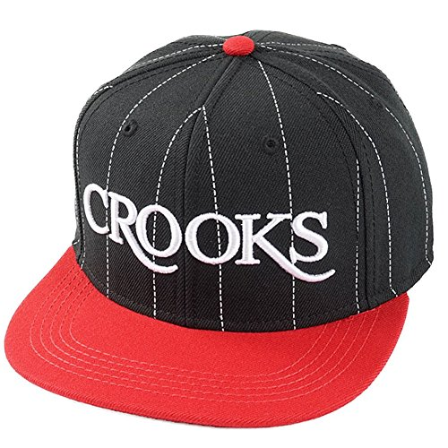 Crooks and Castles Men's Serif Crooks Woven Snapback Hat Black