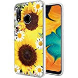 Galaxy A30 Case,Galaxy A20 Case with Flowers, Ueokeird Slim Shockproof Clear Floral Pattern Soft Flexible TPU Back Phone Case Cover for Samsung Galaxy A30/A20 (Sunflower)