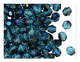 Fire-Polished Beads, 6 mm, 50 piezas, cuentas redondas checas de vidrio facetado, pulido al fuego, Aquamarine Azuro (light blue transparent, half blue metallic rainbow)
