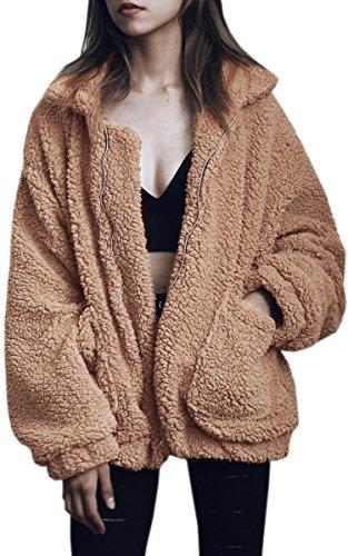 ECOWISH Damen Mantel Revers Faux Für Lose Langarm Outwear Tasche Reißverschluss Winterjacke Mode Kurz Coat Kamel L