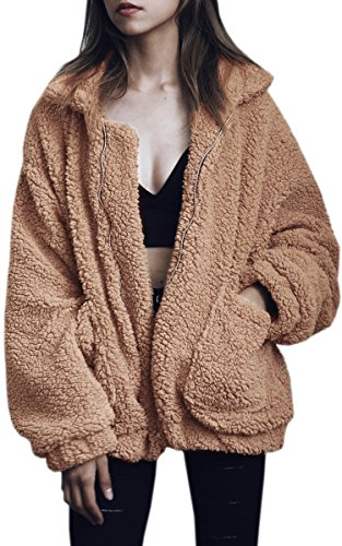 ECOWISH Women's Coat Casual Lapel Fleece Fuzzy Faux Shearling Zipper Warm Winter Oversized Outwear Jackets Camel Small