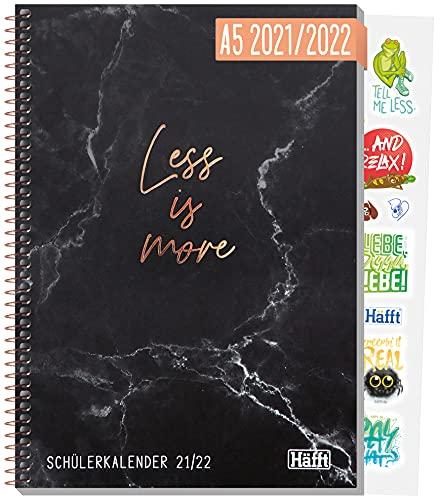 Häfft College-Timer A5 2021/2022 [Less is more] Schülerkalender/Hausaufgabenheft, Schüler-Tagebuch, Schülerplaner inkl. Fun Facts, Sprüche, Sticker u.v.m. | nachhaltig & klimaneutral