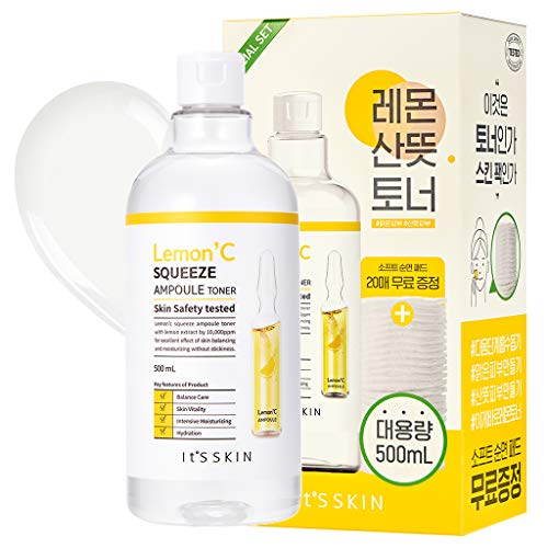 It'S SKIN Lemon'C Squeeze Ampoule Toner 500ml (16.9 fl.oz.) with Soft Cotton Pads 20 Sheets - Lemon Extract & Hyaluronic Acid Contained Dark Spot Clearing and Moisturizing Astringent