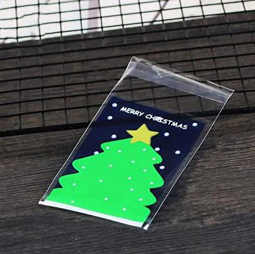 【BEAUTY PLAYER】クリスマス ラッピング袋 ギフトバッグ かわいい 100枚 7*10cm ラッピングバッグ 個包装 粘着テープ付き 半透明袋 おしゃれ プレゼント ベーキング包装用袋 手作りお菓子 お菓子用袋 小分け 製菓用品 (クリスマスツ