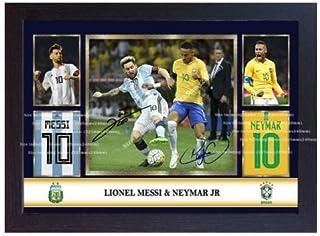 S&E DESING Lionel Messi Argentina Neymar Jr Brazil Autograph Signed Poster Photo Framed