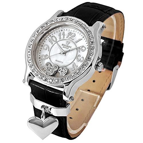 Disney ディズニー ミッキー ハート チャーム 腕時計 ブラックベルト×シルバーカラー 文字盤 本牛革 ベルト スワロフスキー使用 白 銀色 黒【並行輸入品】