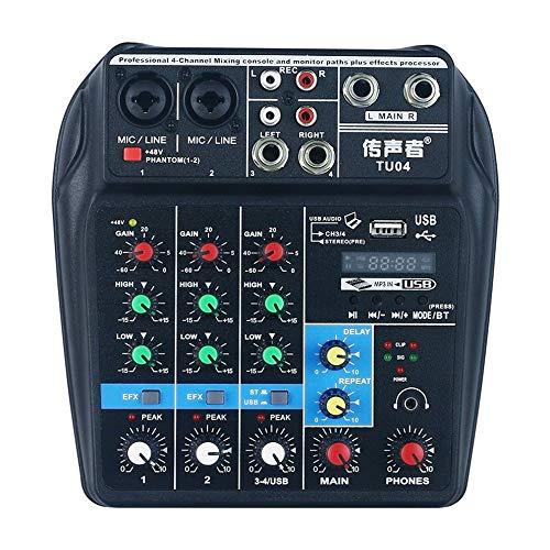 Tarjeta de sonido Mezclador de 4 canales para Home Stage Usb Mini Mezclador Cuatro Vías Pequeño Tuning Gain Mid Bass Reverberación