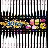 Rotuladores Metálicos, Emooqi Marker Pen Rotuladores Metalizados 30 Color Marcador Pens Bolígrafos de pintura Conjunto de marcadores Para Tarjetas Negras, DIY Álbum, con Efecto Metálico
