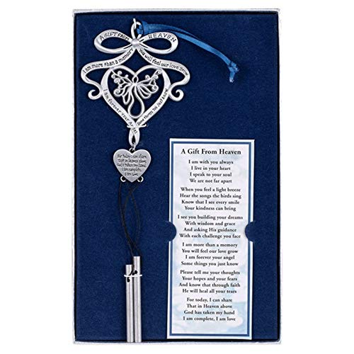 SIZHINAI Memorial Windchimes, Angel Metal Windchimes in Memory, A Gift from Heaven Memorial Wind Chime Heart Shape Letter Engraved Valentine's Day Gift