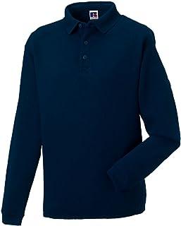 Russell Mens Polo Sweatshirt Heavy Duty Workwear Plain Casual Warm Cotton Rich