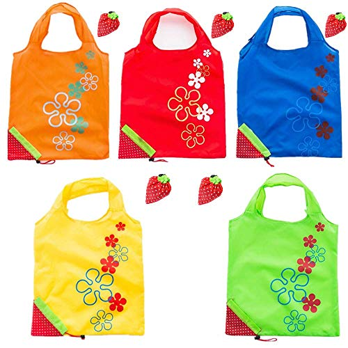 5 Pcs Strawberry Foldable and Reusable Shopping Bags Grocery Travel ECO Bags for Shopping