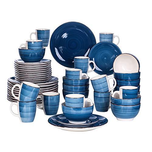 vancasso Bella Vajillas de Gres 48 pcs Juego de Vajillas Completas para 12 Personas Azul-Vintage Pintado a Mano
