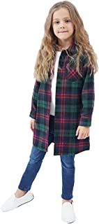 Sobrisah Kids Girl's Long Sleeve Button Down Cotton Plaid Fashionable Shirt Dress