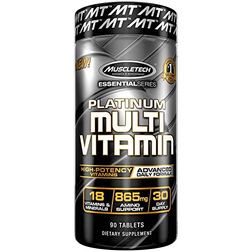 Multivitamin for Men | MuscleTech Platinum Multivitamin | Advanced Daily Formula | 18 Vitamins & Minerals + 865mg Amino Acids | Vitamins A C D E B6 B12 | Mens & Womens Multivitamins, 90 ct (Pack of 1)