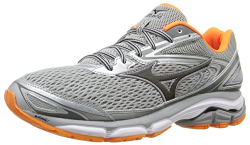 Mizuno Men's Wave Inspire 13 Running Shoe, Grey/Clownfish, 8.5 D US