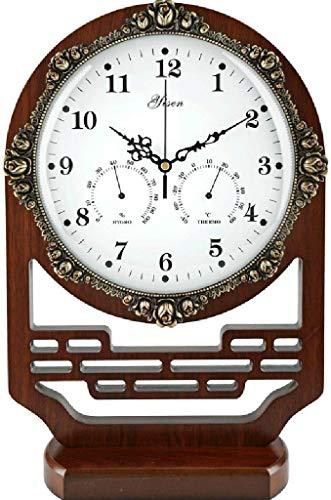 HYY-YY Bureauklok Family klokken Table Clock Mantel Clock for de woonkamer Slaapkamer Chinese Retro Planken Silent Clock Ornamenten Geschikt for woonkamer slaapkamer Office (kleur, met slinger), Temp.
