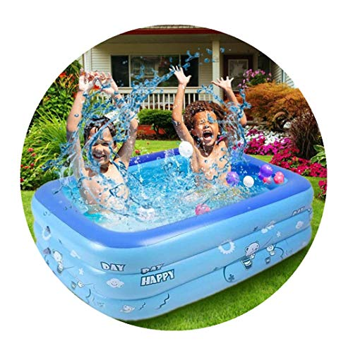 Beudylihy Aufblasbarer Kinderpool Luftmatratze Pool Verdickter Pool Rechteckig Bestway Pool Frame Pool Pool Spielzeug (Blau, 120X80X40cm)