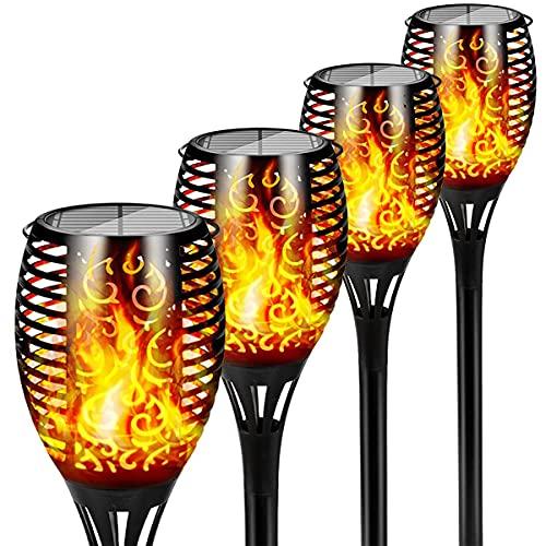 SWETIY Luci Solari Esterno Giardino, 33 LED Torce da Giardino Lampada,Solare Esterno Decorativo di Effetto Luce Fiamma,On/off Auto Solare Fiamma Luci Giardini(4 Pezzi)