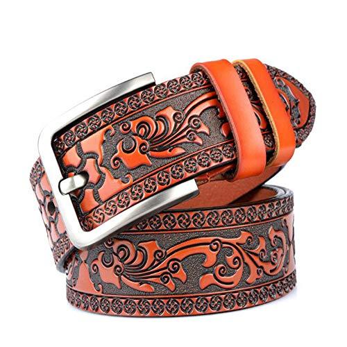 Western Print - Cinturón de piel con hebilla para hombre Naranja naranja 120CM