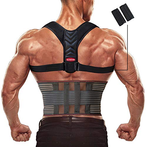 Olymstars Corrector Postura Espalda - Corrector Espalda Respirable Ajustable para Aliviar los Dolores de Dorsales, Cuello, Thoraciques, Hombros Columna - Mejorar Postura con Faja Lumbar Hombre Mujer