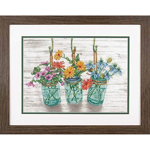 Dimensions 70-35378 Flowers in Mason Jars Cross Stitch Kit, 14 Count White Aida Cloth, 14' x 10'