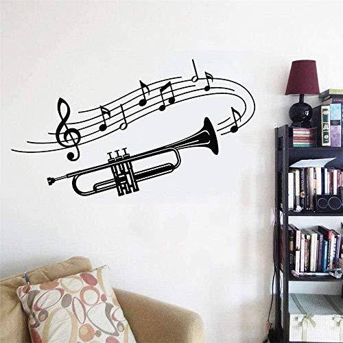 Muursticker van papier trompet muziekinstrument noten muursticker voor thuis 100 x 57 cm