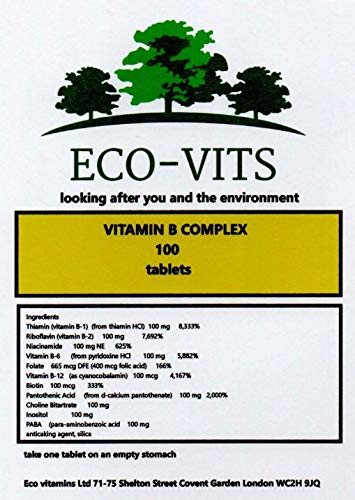 ECO-VITS Vitamin B Complex (100) 240 TABS. Biodegradable Packaging. Sealed Pouch